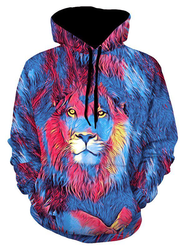 Lion Paint Graphic Front Pocket Casual Hoodie - multicolor XL