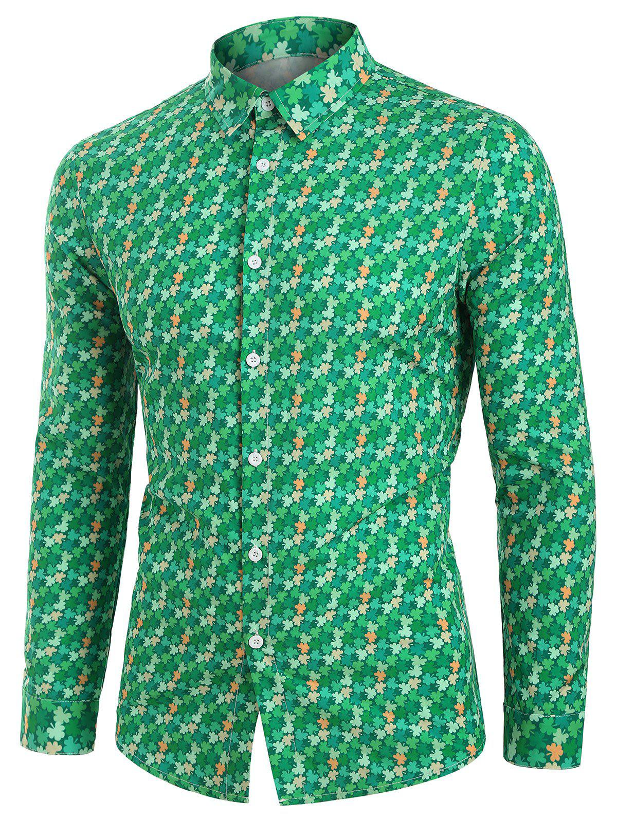 Tiny Leaves Button Up Long Sleeve Shirt - GREEN L