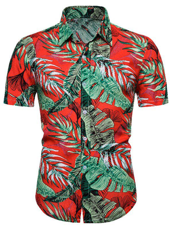Leaves Pattern Hawaii Short Sleeve Shirt - multicolor 3XL