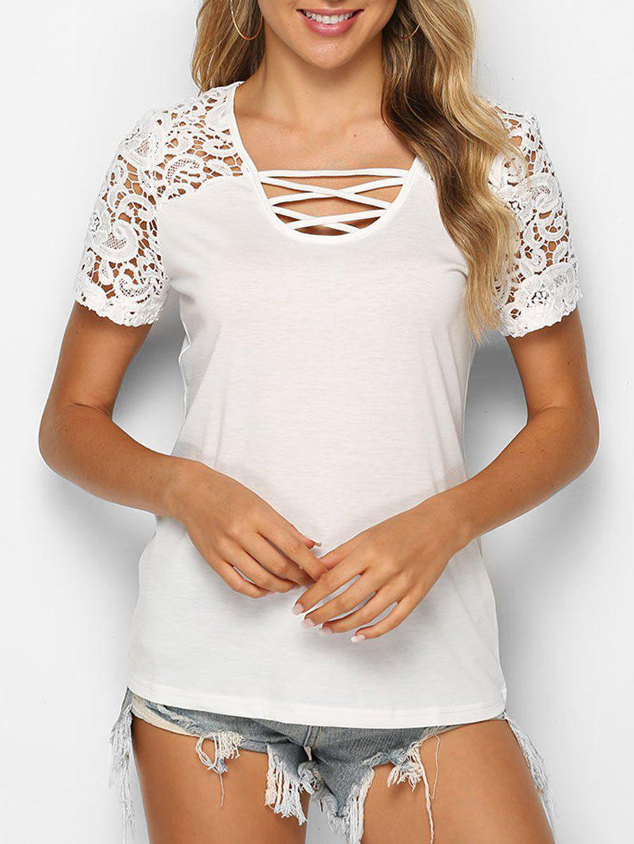 Lattice Crochet Lace Panel Top - WHITE S