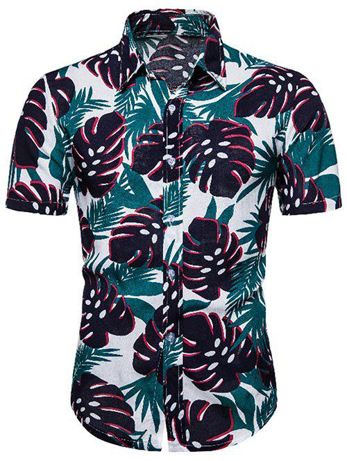 Hawaii Leaves Pattern Short Sleeve Shirt - multicolor 3XL