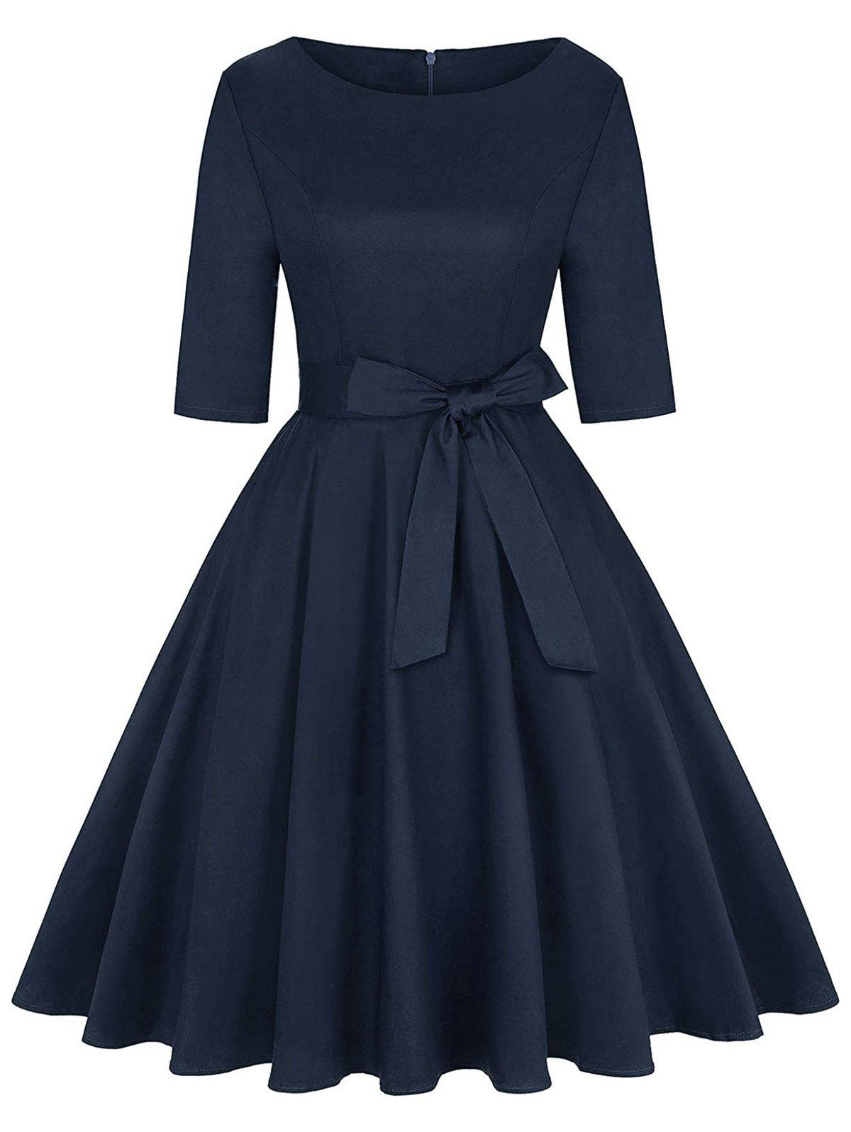 Belted Knee Length Party Dress - DEEP BLUE M
