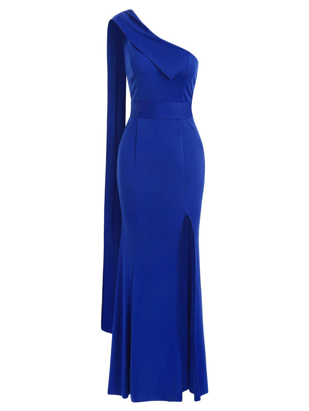 One Shoulder Slit Evening Mermaid Dress - BLUE S