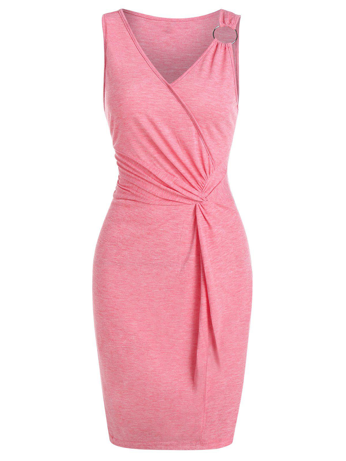 Twist Front O-ring Sleeveless Heathered Bodycon Dress - FLAMINGO PINK M