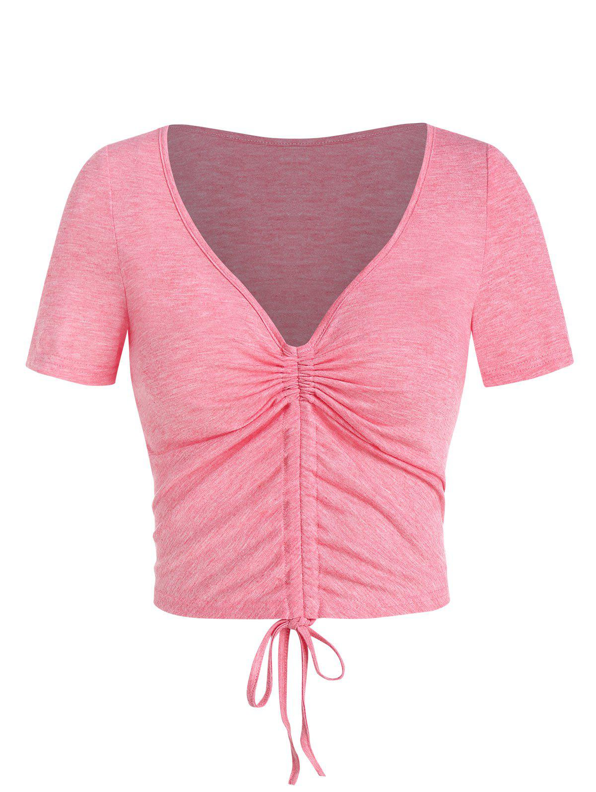 Plunge Neck Heathered Cinched Cropped T-shirt - LIGHT CORAL M
