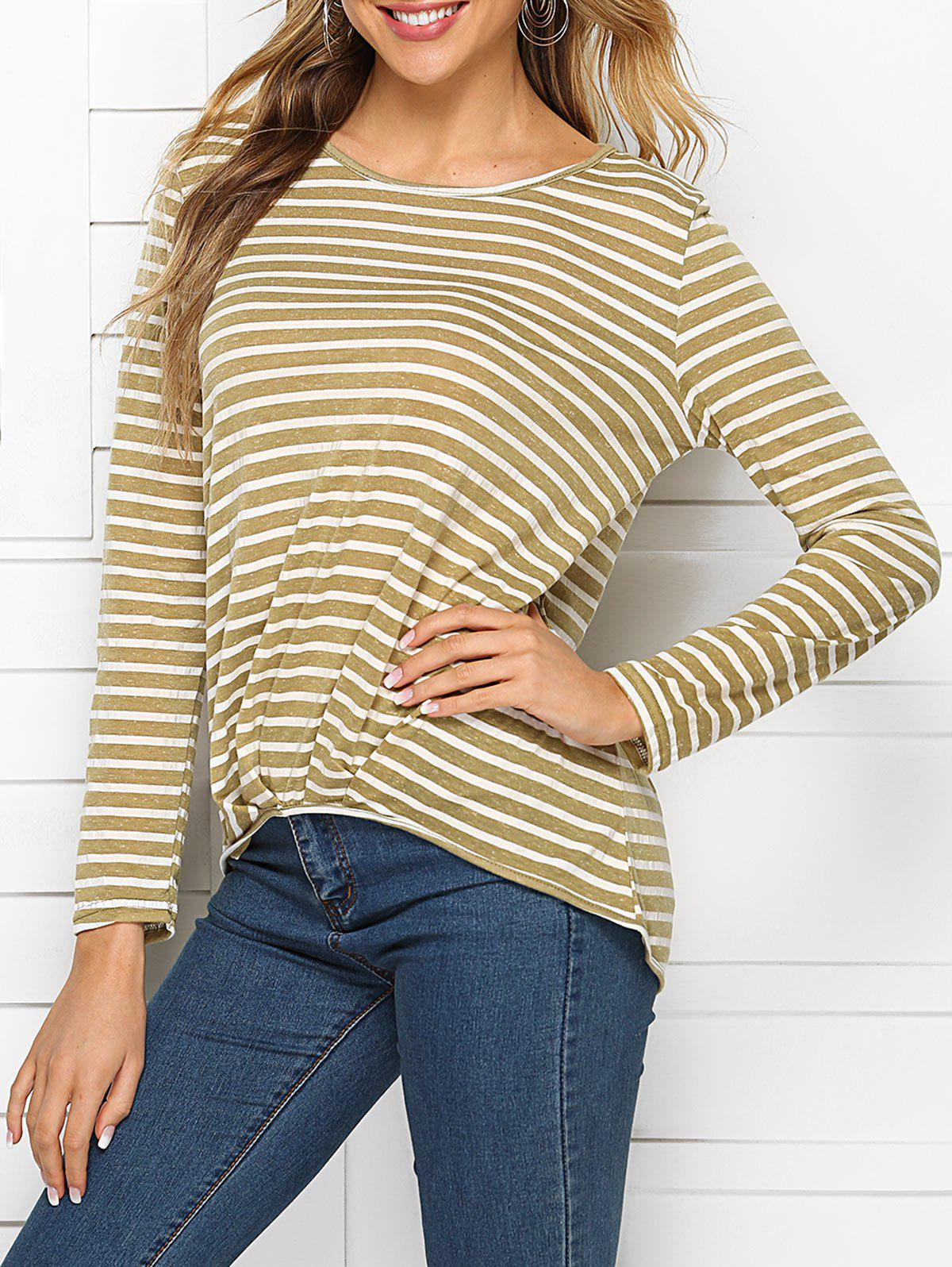 Ruched High Low Stripes Tee - KHAKI L