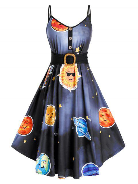 Plus Size Planet Print Fit and Flare Dress