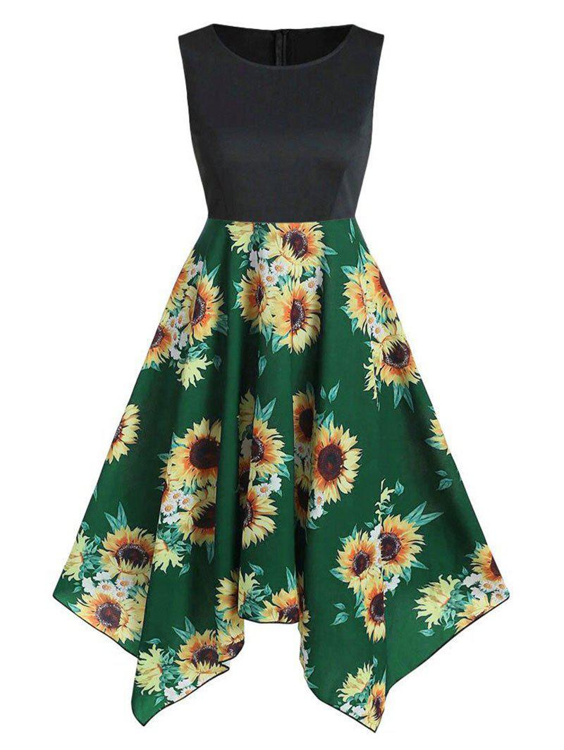 Sunflower Print Asymmetric Sleeveless Dress - MEDIUM FOREST GREEN 2XL