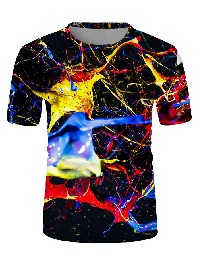 Casual Colorful Printed Short Sleeves T-shirt - multicolor L