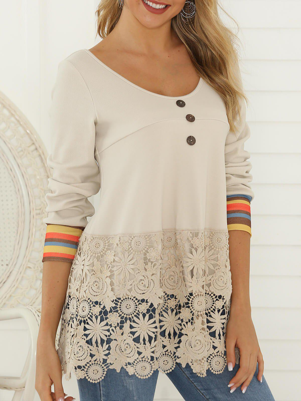Flower Lace Panel Striped Mock Button T-shirt - CRYSTAL CREAM S