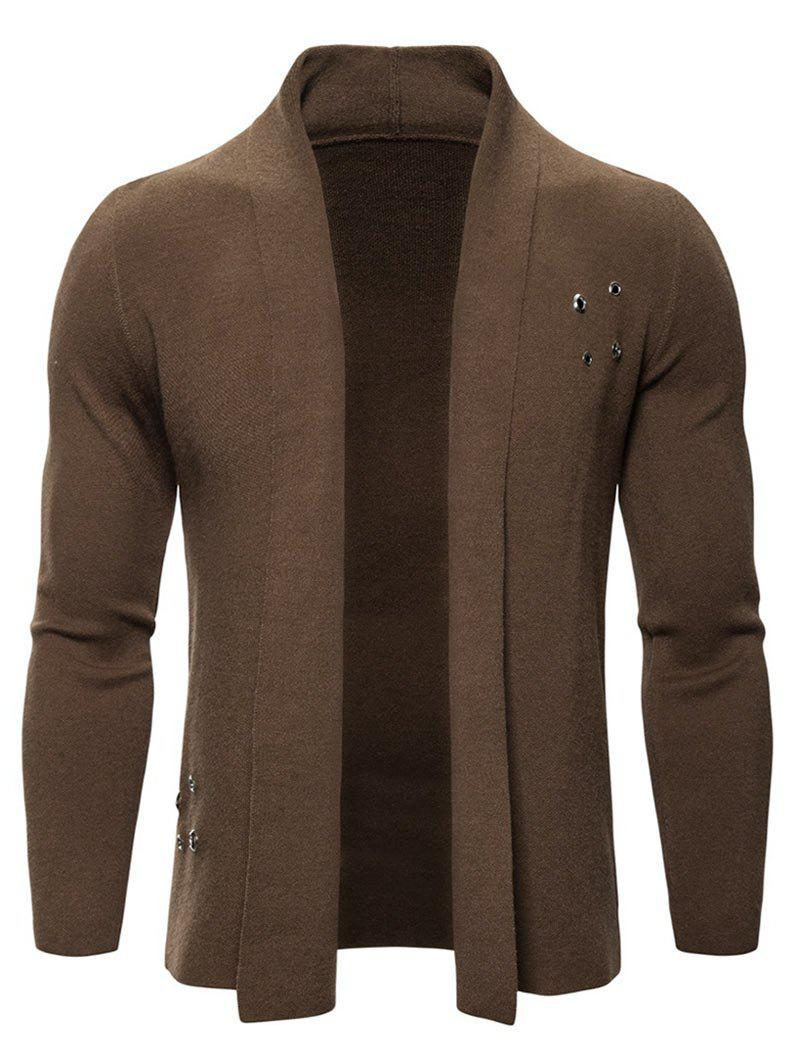 Solid Color Casual Knitted Cardigan - COFFEE L