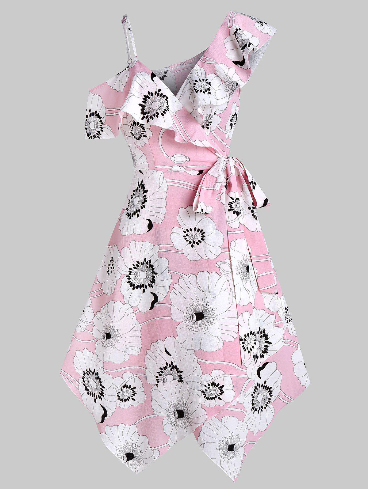 Flower Print Flounce Handkerchief Wrap Dress - FLAMINGO PINK L