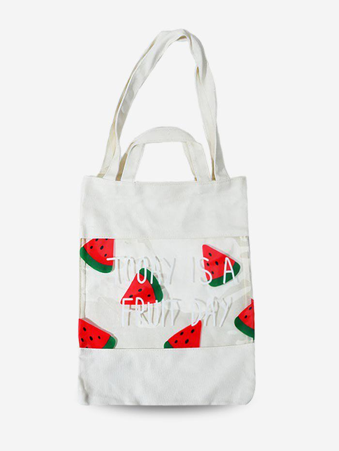 Fruit Print PVC Patchwork Transparent Tote Bag - WHITE