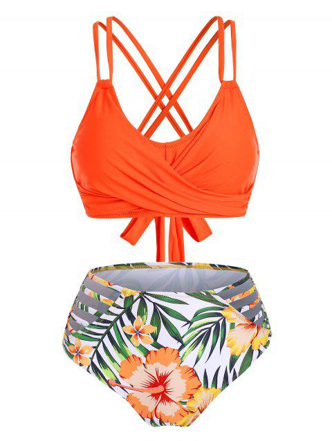 Lattice Twist Floral Leaf Ladder Cutout Bikini Set