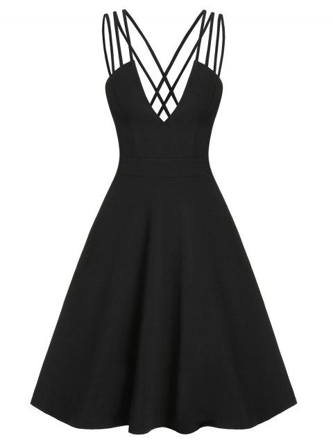 Low Cut V Neck High Waist Backless Dress