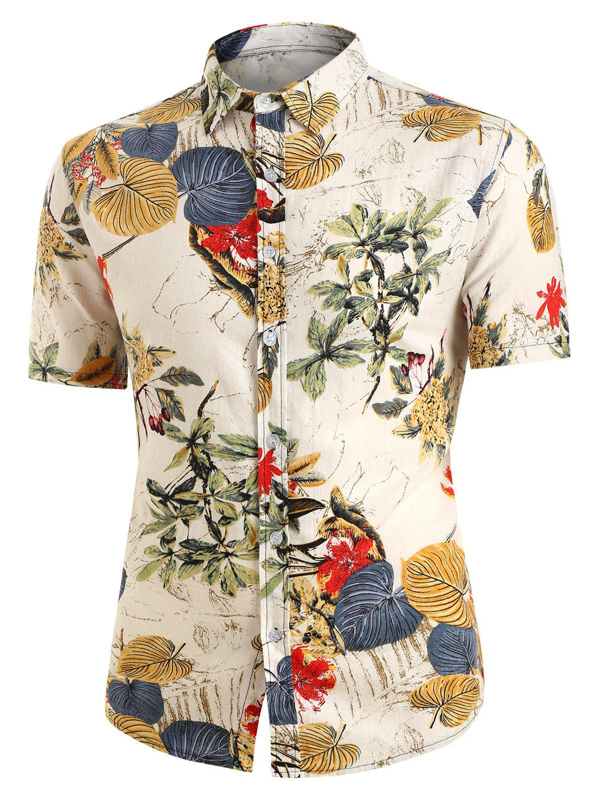 Leaves Floral Print Button Up Linen Shirt - multicolor 2XL