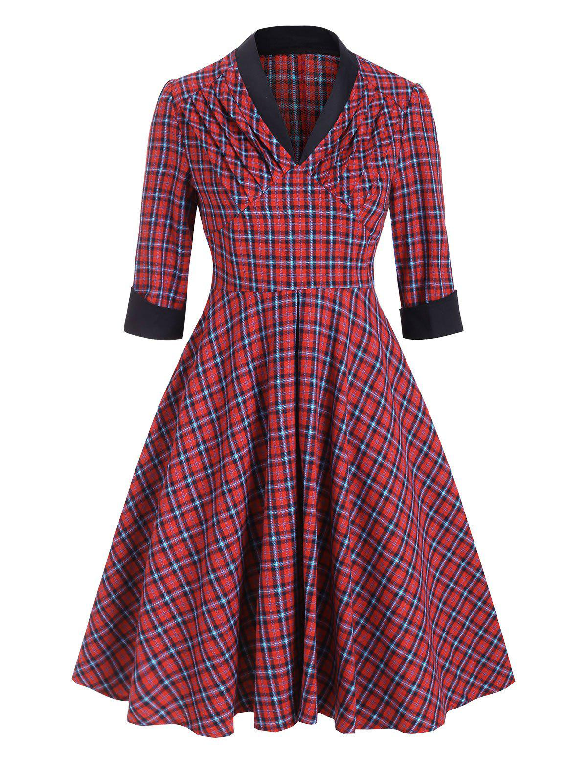 Plaid V Neck Ruched Empire Waist Dress - CHERRY RED L