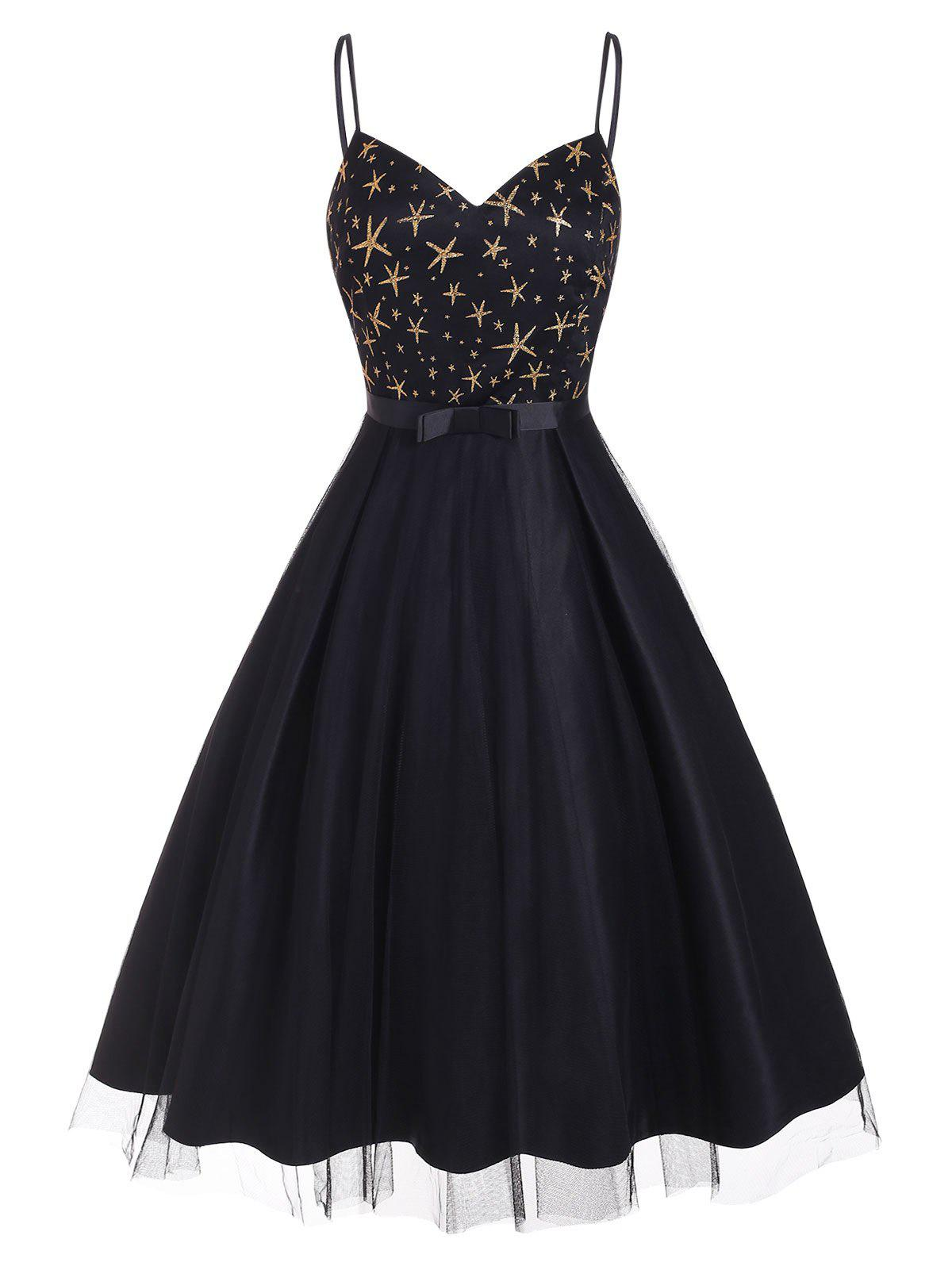 Sparkly Star Lace Overlay Cami Party Dress - BLACK M