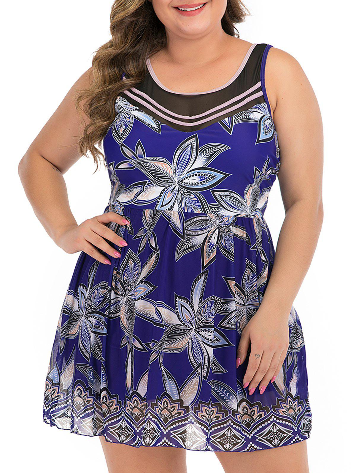 Floral Mesh Panel Tie Back Plus Size Skirted Swimsuit - BLUE 5X