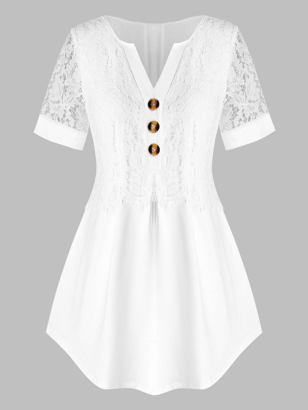 Plus Size Lace Overlay Curved Blouse - WHITE 4X