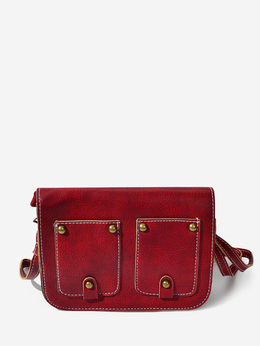 Rivet Cover Rectangle Shoulder Bag - RED WINE