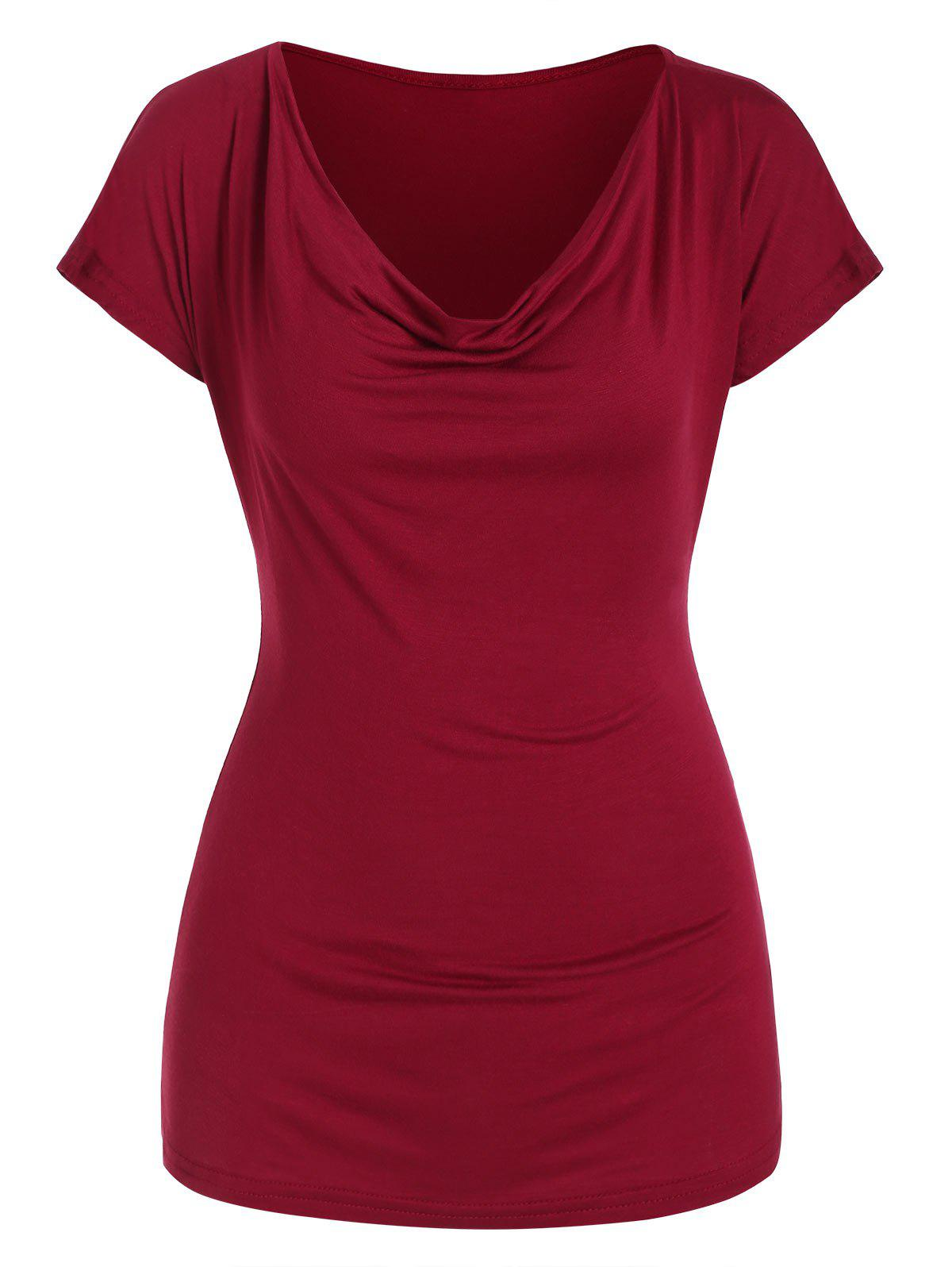 Cowl Front Scoop Neck Solid Tee - RED WINE XL