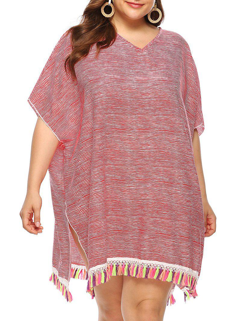 Plus Size Striped Tassels Cover Up Dress - RED 1X