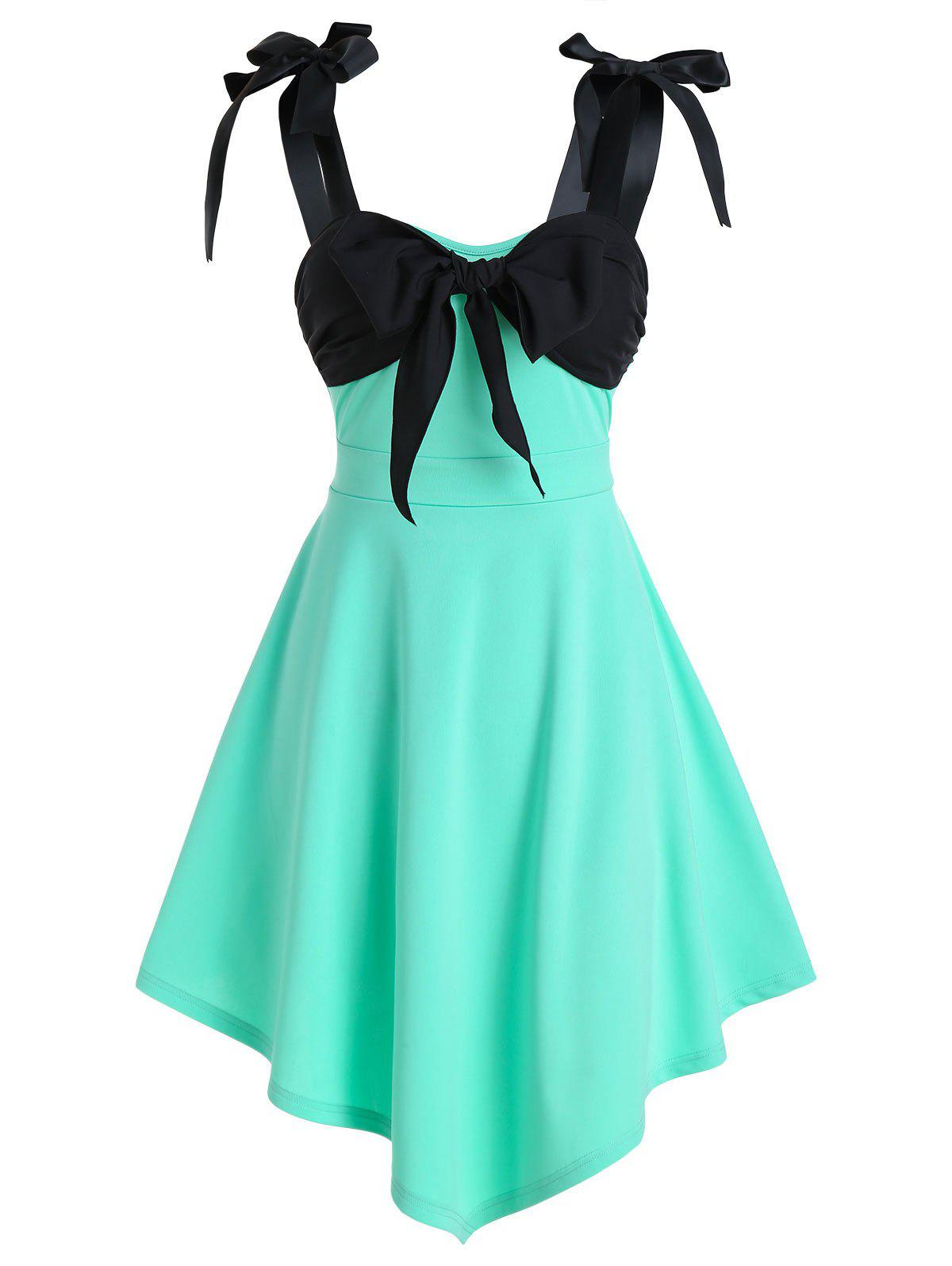 Bowknot Detail Pointed Hem Sleeveless Flare Dress - AQUAMARINE L