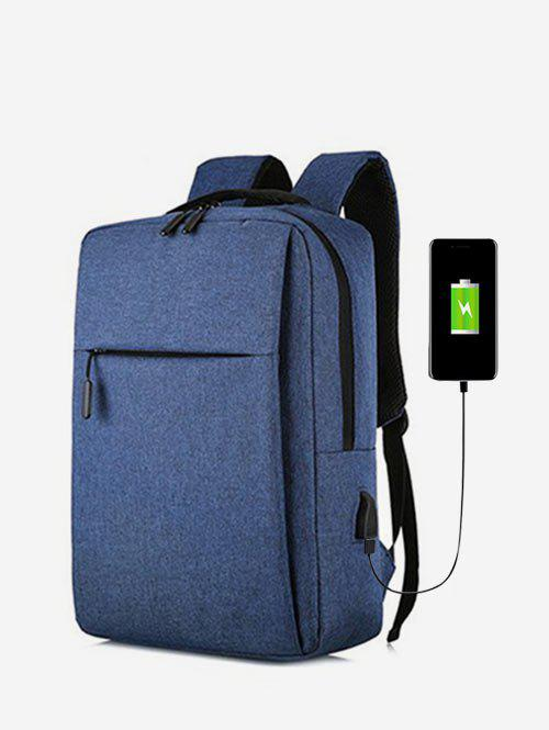 Pure Color Large Capacity Waterproof Laptop Backpack - DEEP BLUE