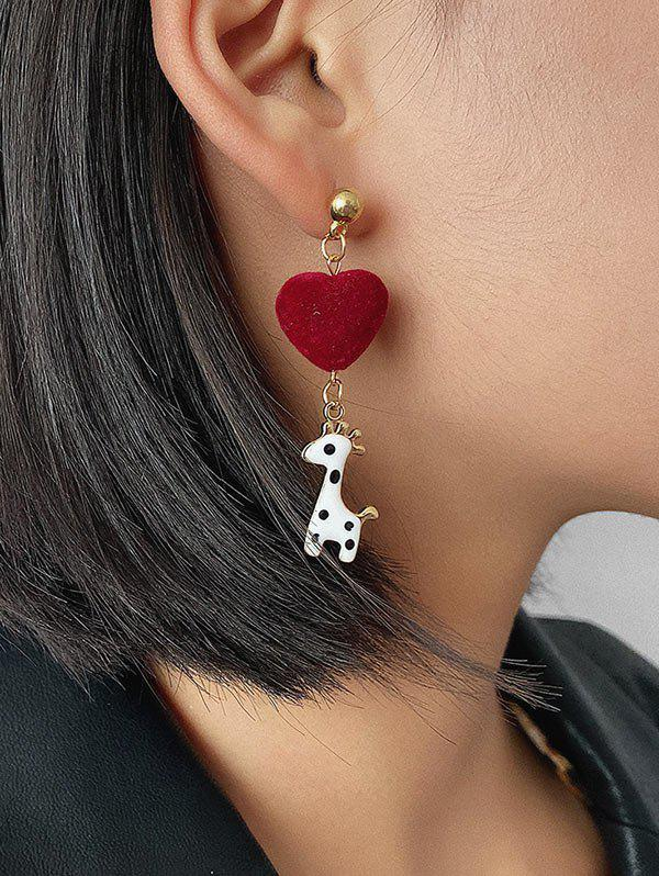 Spot Giraffe Heart Drop Earrings - GOLD
