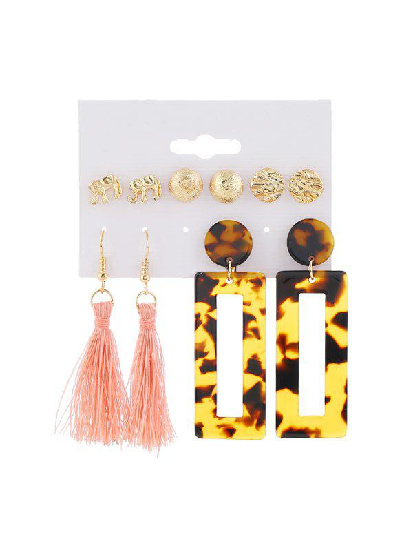5Pairs Leopard Elephant Tassel Earrings Set - GOLD