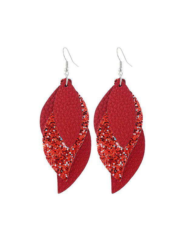 Layers Glitter Leather Leaf Shape Earrings - RED