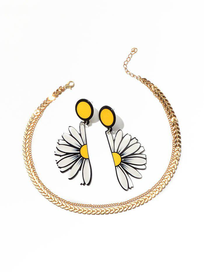 Flower Earrings Layered Herringbone Necklace Set - GOLD