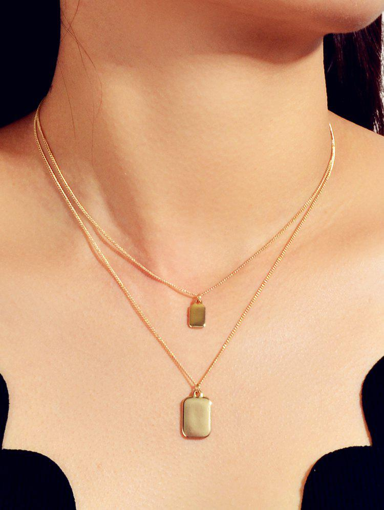 Rectangle Pendant Double Layers Necklace - GOLD