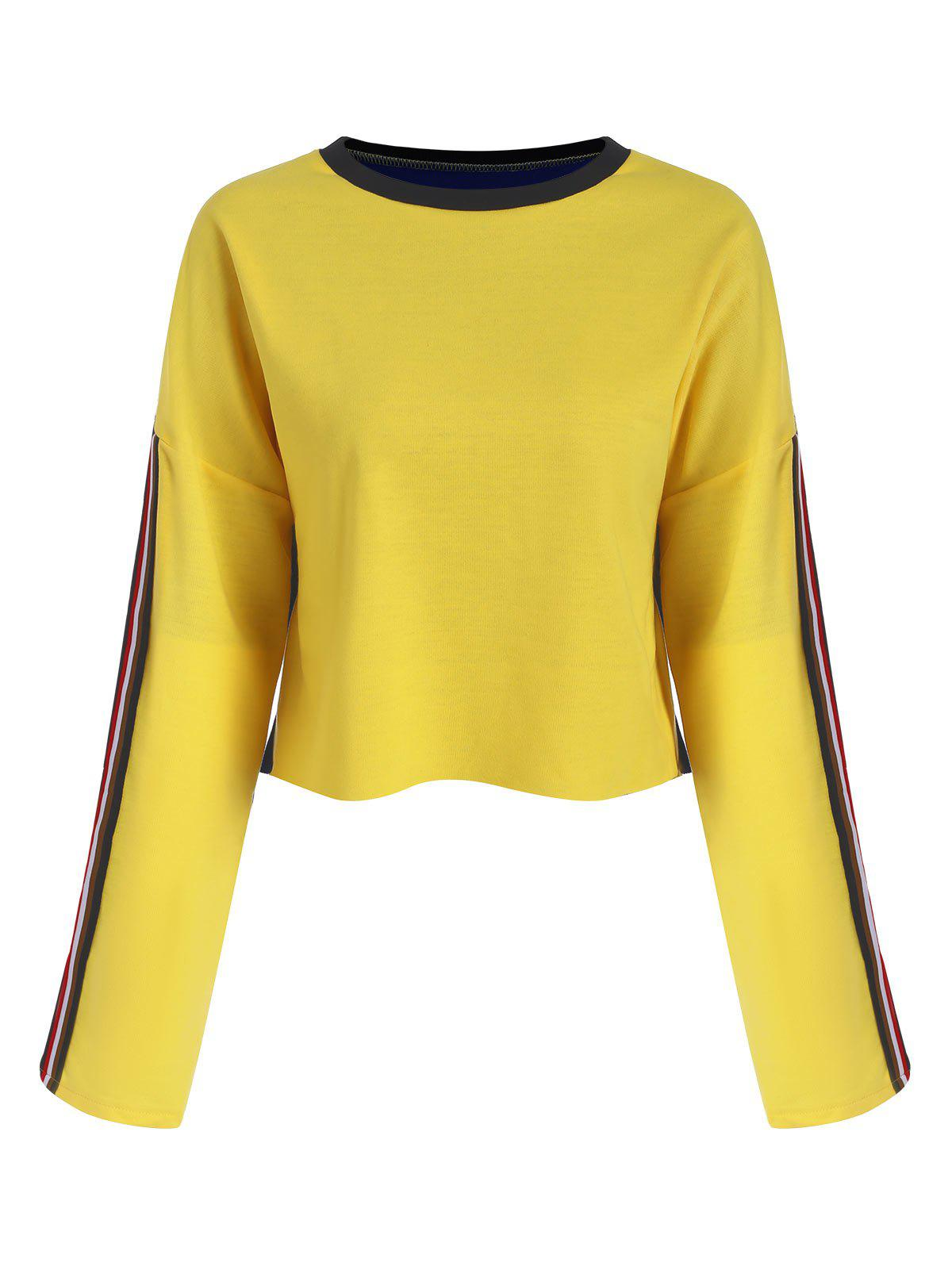 Cropped Contrast Sweatshirt - CORN YELLOW XL