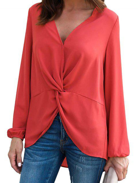 Twisted Plunging High Low Blouse