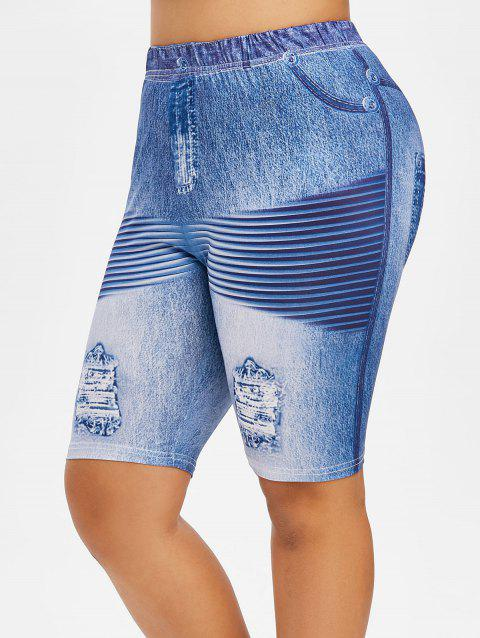 Plus Size Ripped Jean Pattern Design Fitted Leggings