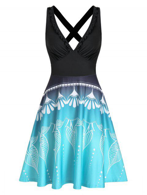 Printed Ruched Plunging Neck Mini Cami Dress