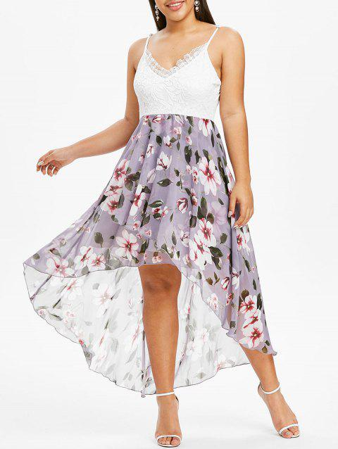 Plus Size Floral Print Lace Panel Dip Hem Dress