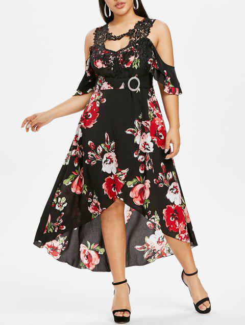 Plus Size Cold Shoulder Cutout Floral Print Dress