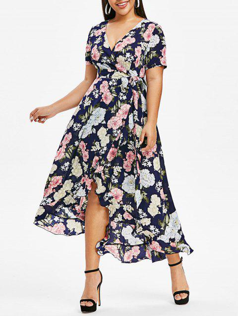 Plus Size Floral Printed Kimono High Low Dress