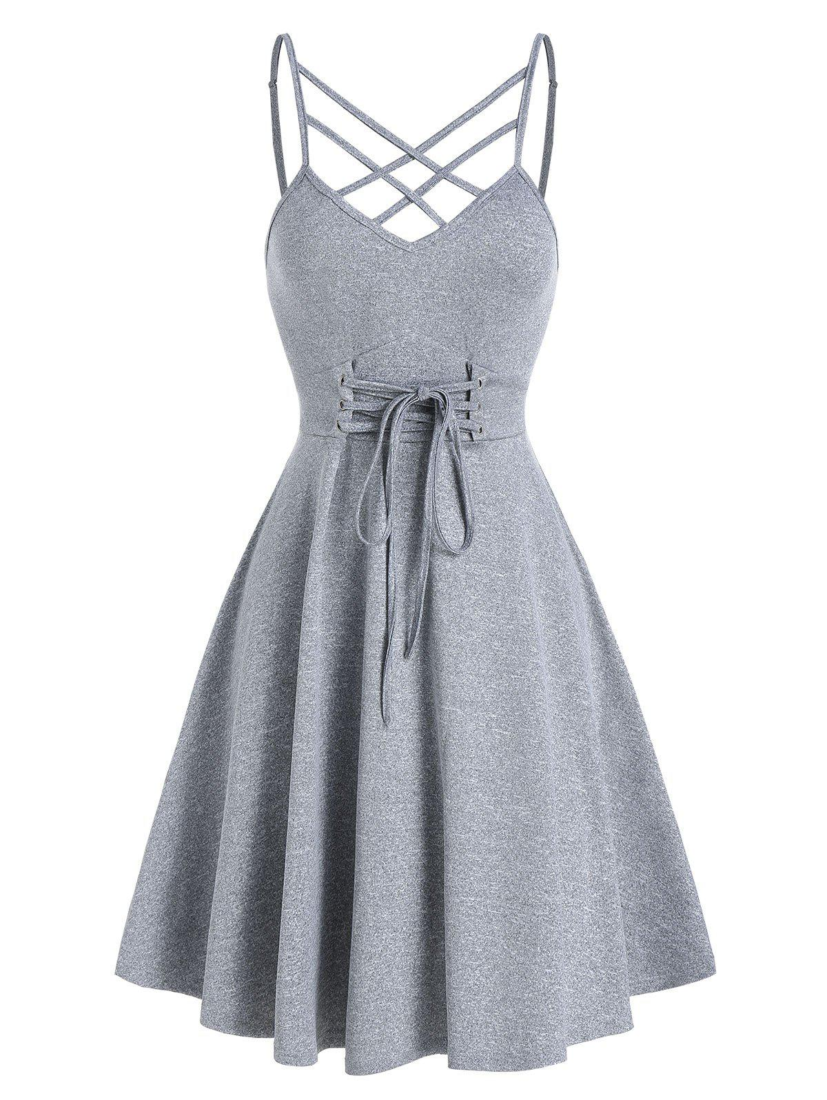 Front Strappy Lace Up Mini Cami Dress - GRAY CLOUD L