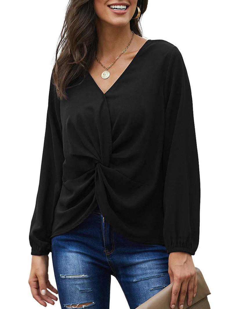 Twisted Plunging High Low Blouse - BLACK 2XL