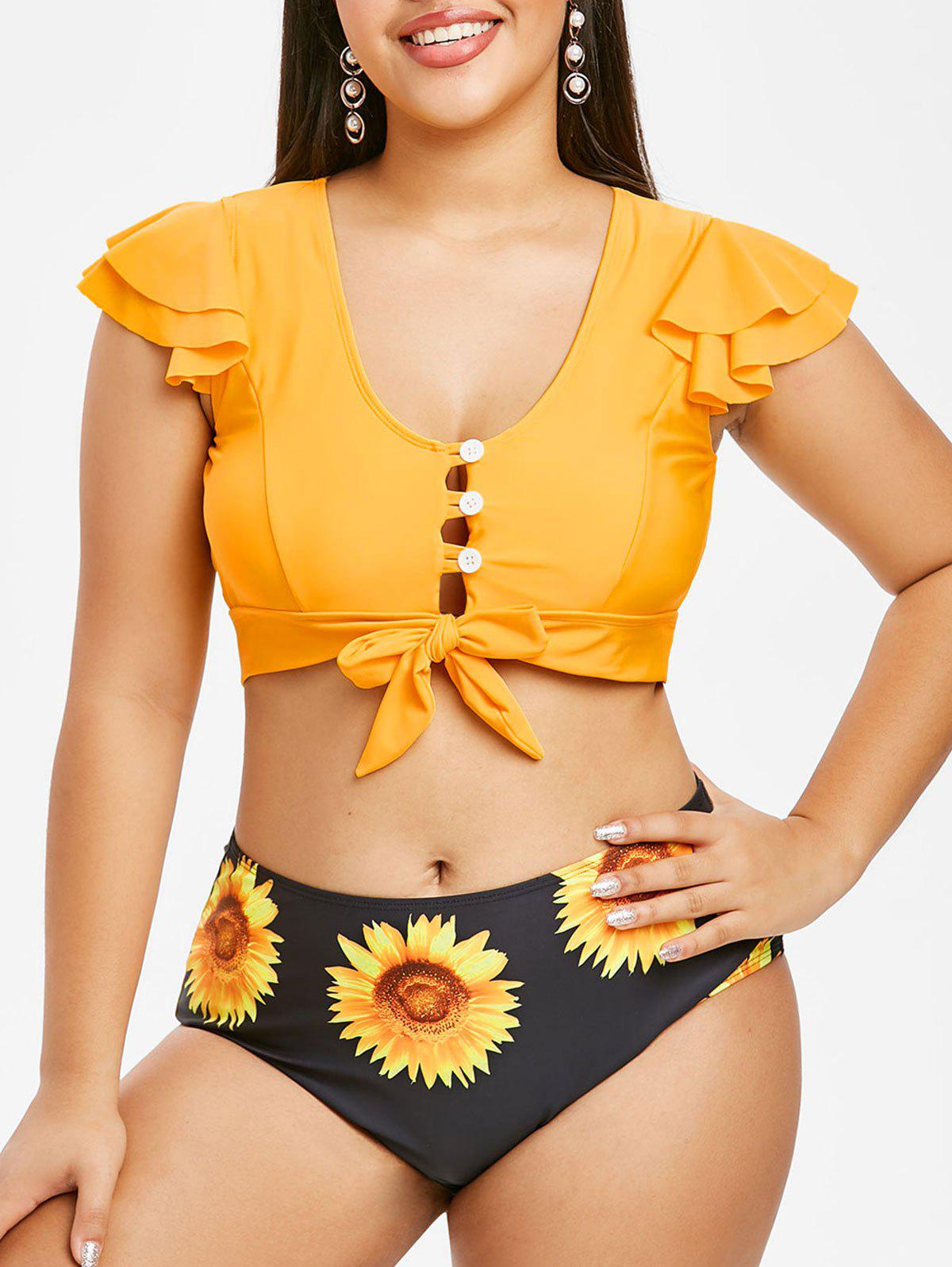 Button Loop Knotted Sunflower Plus Size Two Piece Swimwear - RUBBER DUCKY YELLOW 5X