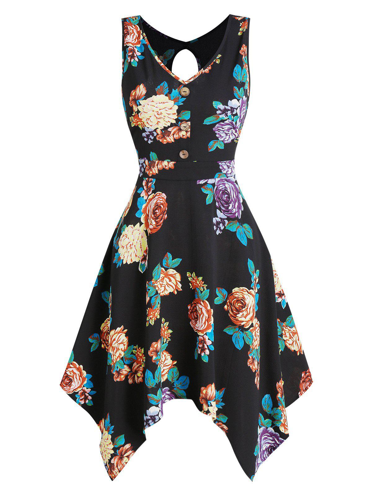 Floral Print Sleeveless Cut Out Handkerchief Dress - BLACK 3XL