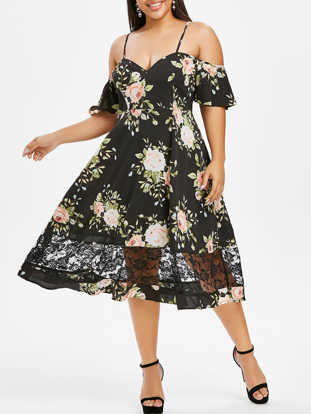 Plus Size Flower Lace Insert Open Shoulder Flutter Sleeve Dress - BLACK 1X