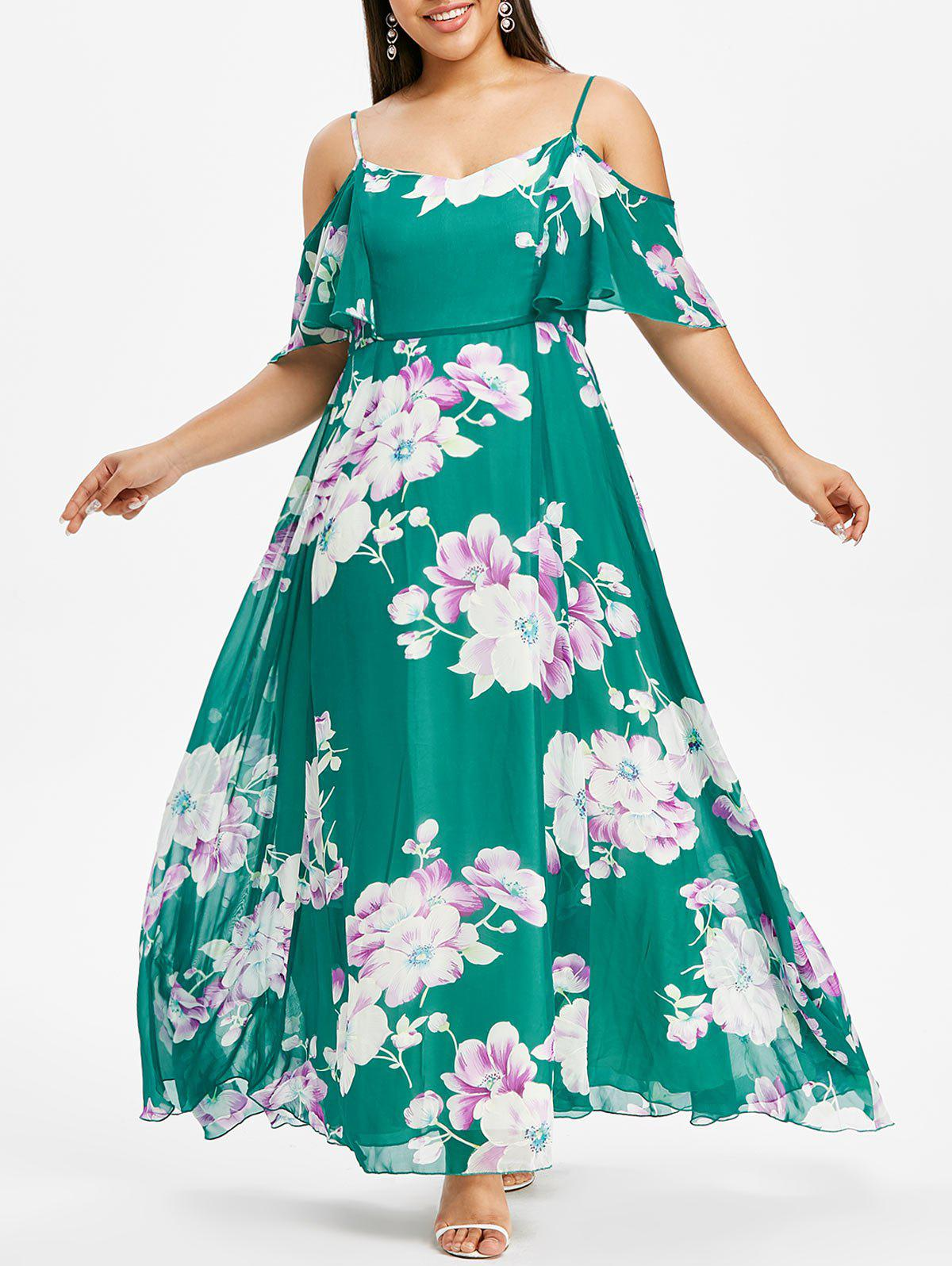 Plus Size Cold Shoulder Floral Long Dress - MACAW BLUE GREEN L