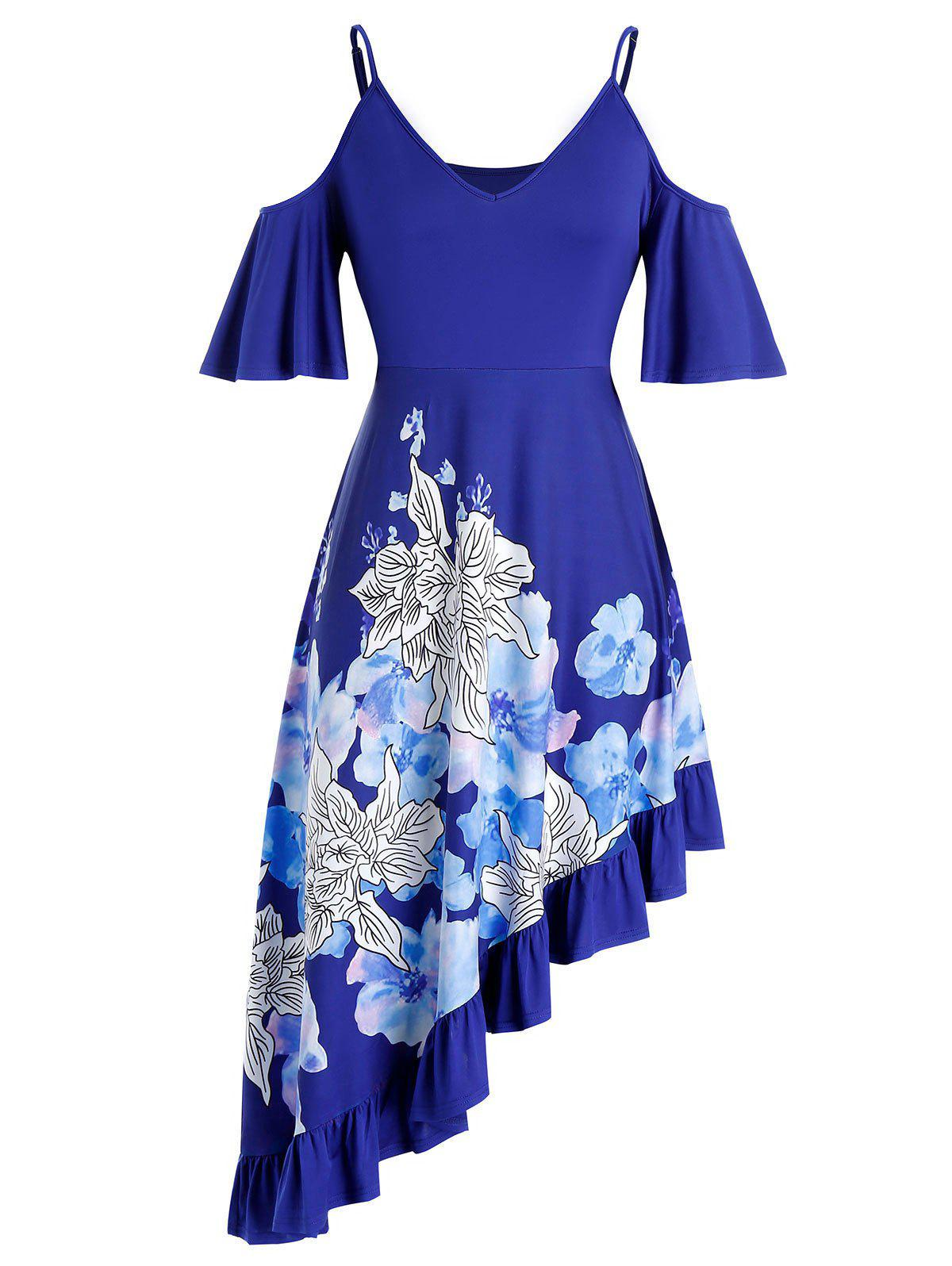 Plus Size Flower Open Shoulder Asymmetrical Flounce Dress - BLUEBERRY BLUE 4X