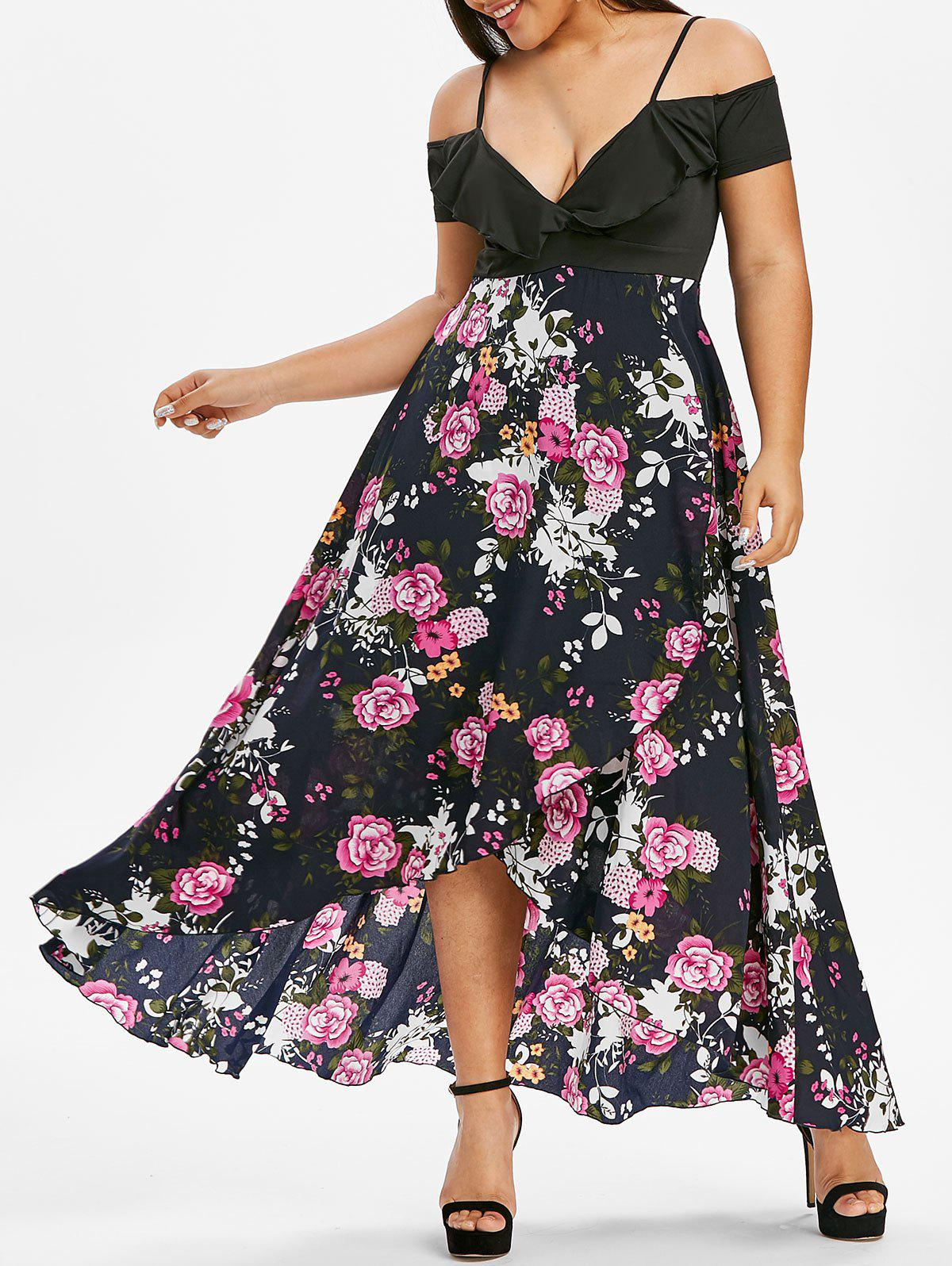 Plus Size Floral Print Cold Shoulder Cami Tulip Dress - BLACK 1X