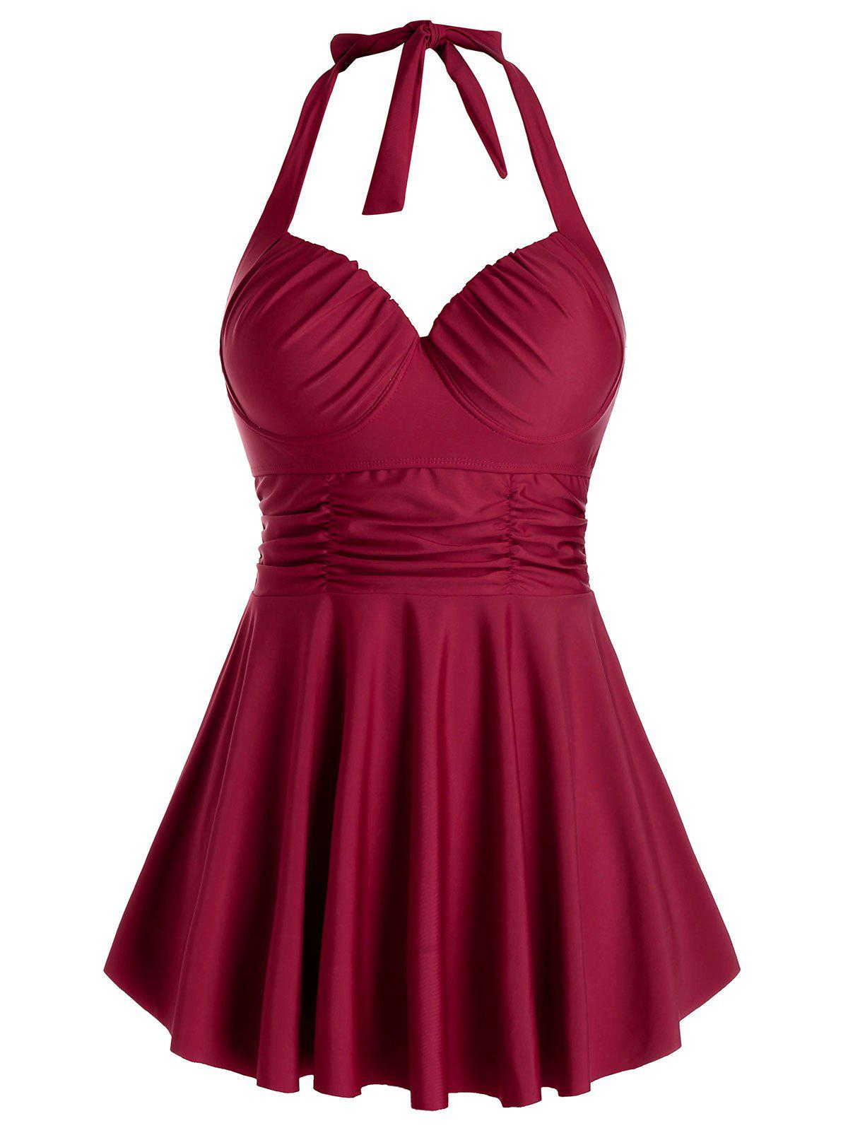Plus Size Halter Ruched Skirted Tankini Swimwear - RED WINE 1X